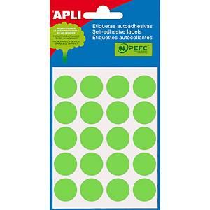 Embalagem de 100 etiquetas redondas Apli - Ø 19mm - verde