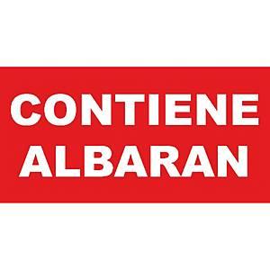 Rollo de 200 etiquetas con   Contiene albarán   - 50 x 100 mm - rojo y blanco