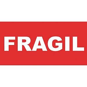 Rollo de 200 etiquetas con   Frágil   - 50 x 100 mm - rojo y blanco