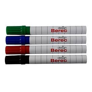 Board- und Flipchart Marker Berec, Rundspitze, Strichbreite 1-4 mm, 4er-Set, ass
