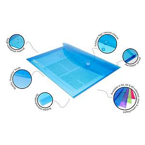 Assorted Bright A5 Polypropylene Popper Wallets - Pack of 5