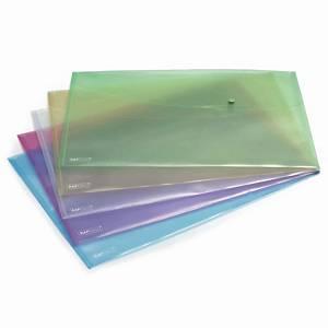 Assorted Pastel A3 Polypropylene Popper Wallets - Pack of 5