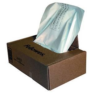 Påse till dokumentförstörare Fellowes, plast, 34 L, förp. med 100 st.