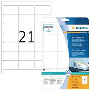 Etiketten A4 Herma 5074, 63,5x38,1 mm, ablösbar, weiss, Packung à 525 Stück