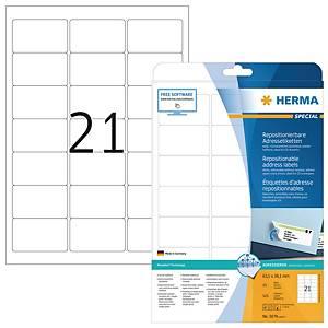 Étiquettes repositionnables Herma 5074, 63,5 x 38,1 mm, les 525 étiquettes