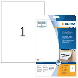 Étiquettes A4 Herma 10021, 210 x 297 mm, détachable, blanc, paq. 25unités