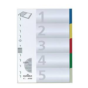 Durable PP Assorted Colour A4 Dividers 5 Tabs