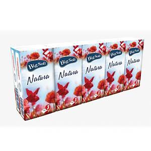 Hygienické vreckovky Big Soft Natura, 3-vrstvové, biele, 10 x 10 kusov