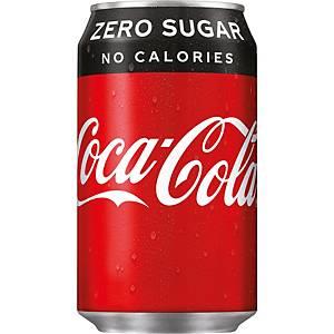 Coca-Cola Zero frisdrank, pak van 24 blikken van 33 cl