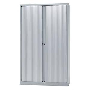 Cupboard high with 4 shelves 120 x 198 x 43 cm aluminium grey