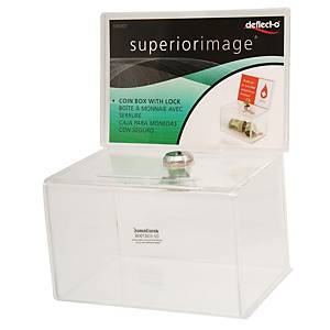 DEFLECT-O 596901-TL COIN BOX WITH LOCK 9.5X15.5X11CM CLEAR
