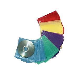 ซองใส่ซีดี 2 แผ่น พลาสติก คละสี บรรจุ 50 ซอง