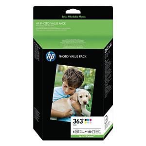 HP Q7966EE HP363 + papier photo 100x150mm 150ark zestaw tuszów fotograficznych