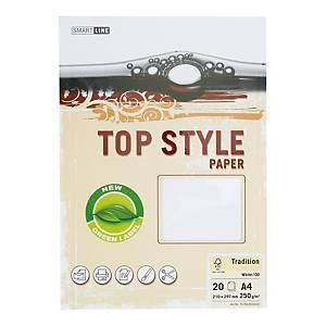 Papier ozdobny TOP STYLE Tradition, kolor biały, 250 g/m², 20 arkuszy