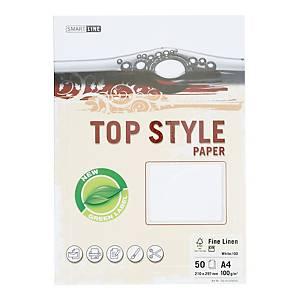 Papier ozdobny TOP STYLE Laid, kolor biały, 100 g/m², 50 arkuszy