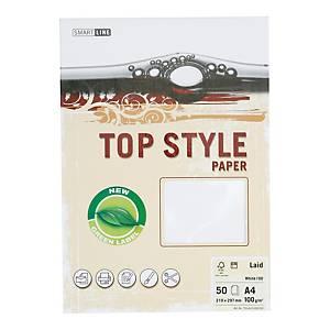 Papier ozdobny TOP STYLE Linen, kolor biały, 100 g/m², 50 arkuszy