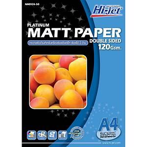 HI-JET กระดาษโฟโต้อิงค์เจ็ทผิวด้าน พิมพ์ 2 ด้าน A4 120 แกรม 1 แพ็ค บรรจุ 50 แผ่น