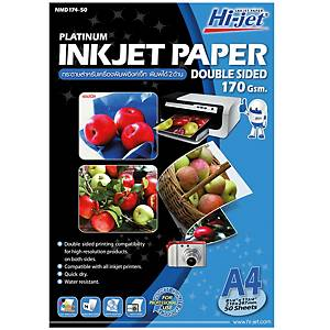 HI-JET กระดาษโฟโต้อิงค์เจ็ท ผิวด้าน พิมพ์ 2 ด้าน A4 170 แกรม 1แพ็ค บรรจุ 50 แผ่น