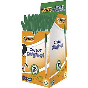 Bic Cristal Original Ballpoint Pens Medium Point (1.0 mm) - Green, Box of 50