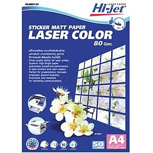 HI-JET Laser Color Sticker Matt Paper A4 80G - Pack of 50 Sheets