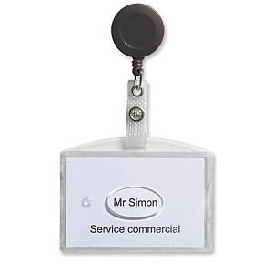 Porte-badge Gemcard pour 2 cartes de sécurité - avec enrouleur - lot de 20