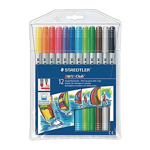 STAEDTLER Noris Club Fibre Tip Pen with 2 Tips - Set of 12