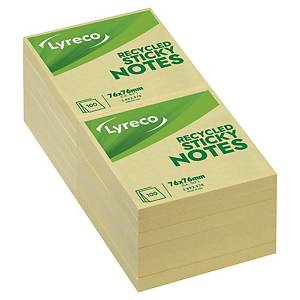Sticky Notes Lyreco Recycled, 76 x 76 mm, gul, pakke a 12 stk.
