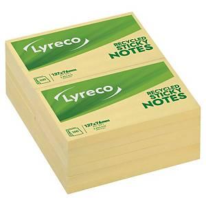 Sticky Notes Lyreco Recycled, 76 x 127 mm, gul, pakke a 12 stk.