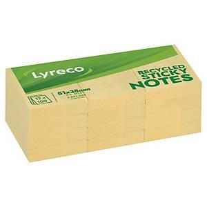 Sticky Notes Lyreco Recycled, 38 x 51 mm, gul, pakke a 12 stk.