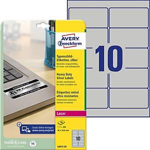 Étiquettes plaque signalétique Avery Zweckform L6012, 96x50,8mm, 200unités