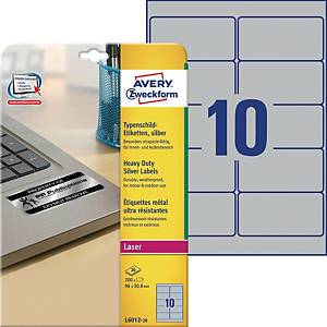 Avery L6012-20 Resistant Labels, 96 x 50.8 mm, 10 Labels Per Sheet