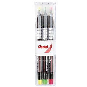 PENTEL ปากกาเน้นข้อความ S512 1-3.5มม. คละสี แพ็ค 3 ด้าม