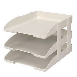 LEXTOP WHITE LETTER TRAY WITH RISER - PACK OF 3
