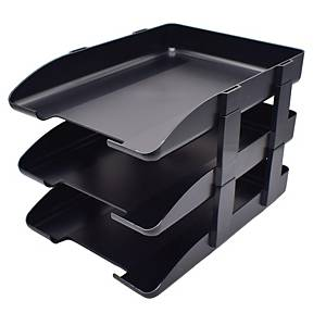 LEXTOP BLACK LETTER TRAY WITH RISER - PACK OF 3