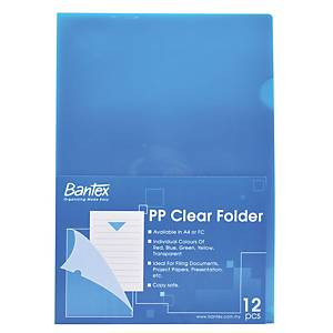 Bantex PP A4 L Shape Folder Blue - Pack of 12