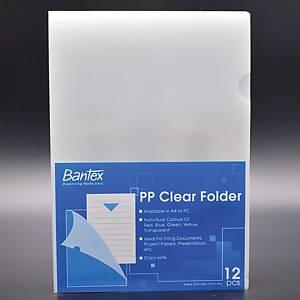 Bantex PP A4 L Shape Folder Transparent - Pack of 12