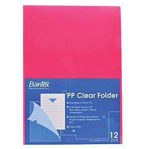 Bantex PP L Shape A4 Folder Pink- Pack of 12