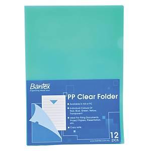 Bantex PP A4 L Shape Folder Green - Pack of 12
