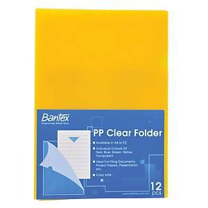Bantex PP L Shape A4 Folder Yellow - Pack of 12