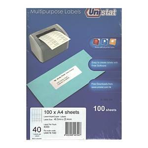 Unistat U4474 Label 48.5 x 25.4mm - Box of 4000 Labels
