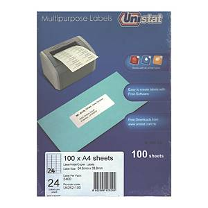 Unistat U4262 Label 64.6 x 33.8mm - Box of 2400 Labels
