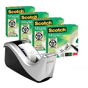 Scotch 810 Magic teippi ja C60 teippiteline hopea, 1 kpl=4 teippirullaa + teline