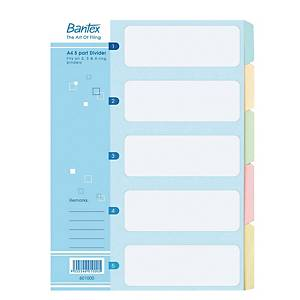 Bantex Manila A4 Cardboards 5 Tabs Dividers - Pack of 10