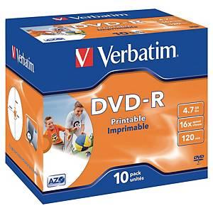 DVD-R Verbatim, printbar, 4,7 GB, 1-16X, pakke a 10 stk.