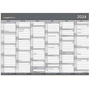 Kalender Mayland Basic 2680 00, 2 x 6 måneder, 2021, A4, grå