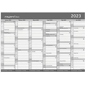 Kalender Mayland Basic 2685 00, 2 x 6 måneder, 2021, A3, grå