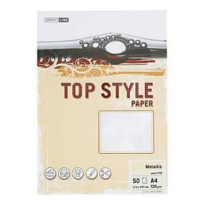 Papier ozdobny TOP STYLE Metalic, kolor perłowy, 120 g/m², 50 arkuszy