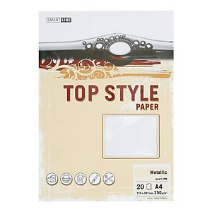 Papier ozdobny TOP STYLE Metalic, kolor perłowy, 250 g/m², 20 arkuszy