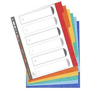 Exacompta extra brede neutrale tabbladen, A4+, karton, 23-gaats, per 6 tabs