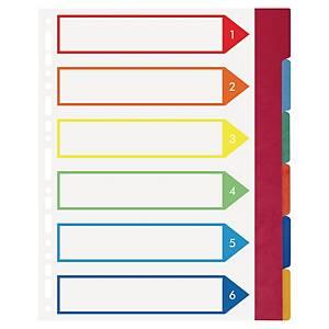 Conjunto 6 separadores com pestanas Exacompta - A4+ - cartolina - sortido